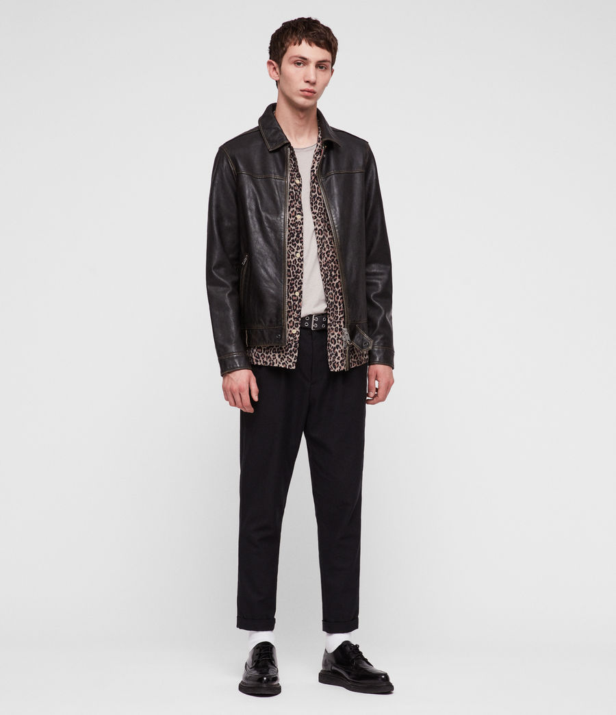 Mens Caleb Leather Jacket (black_coal) - Image 3