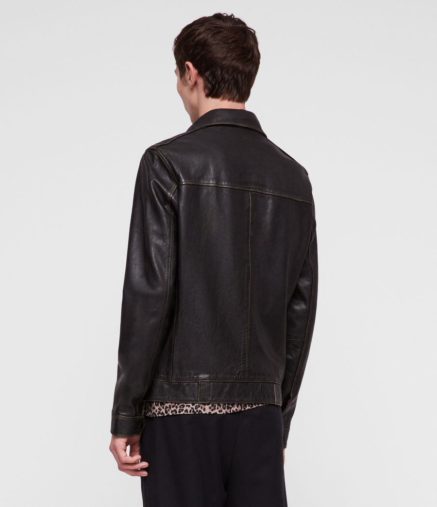 Mens Caleb Leather Jacket (black_coal) - Image 4