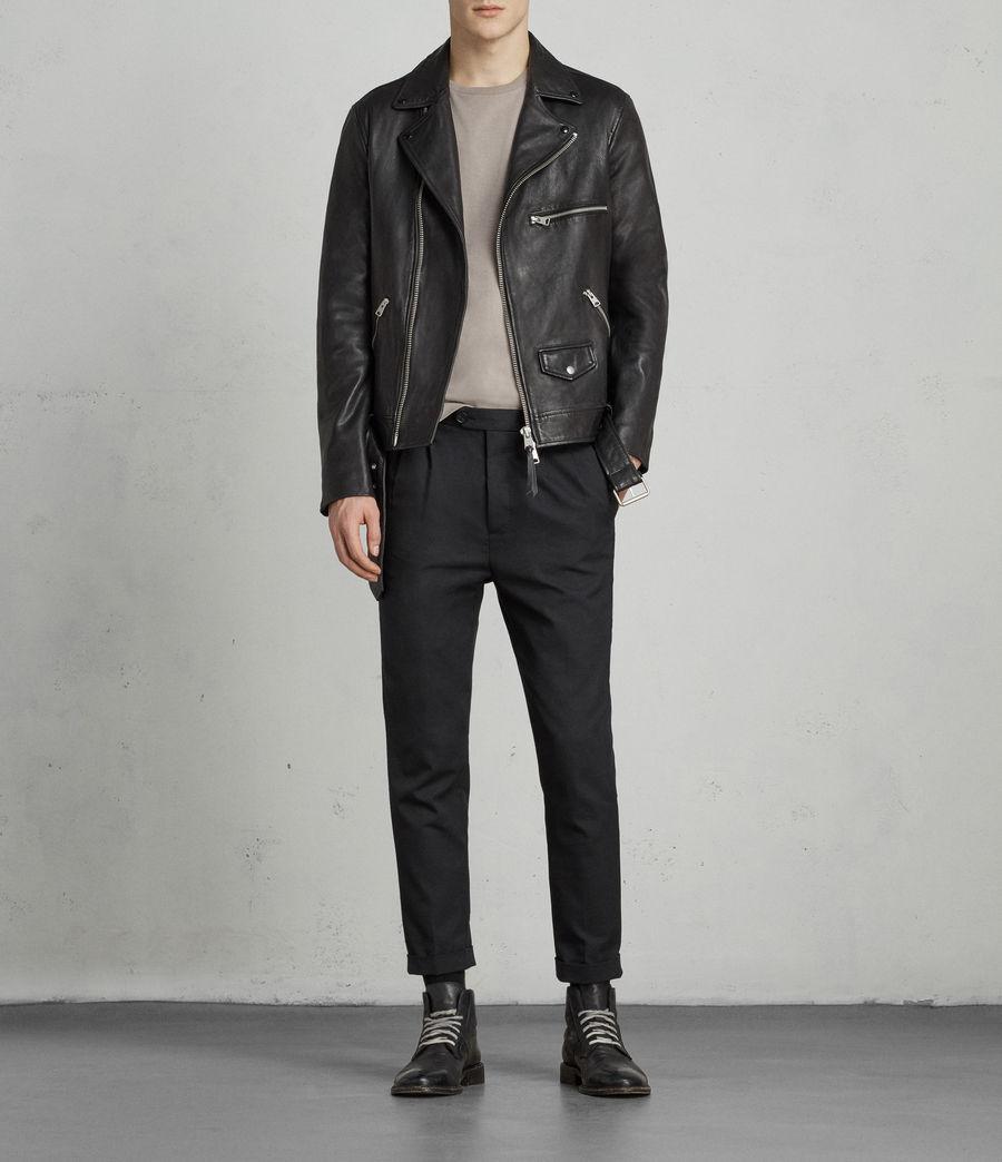 Mens Kodey Leather Biker Jacket (black) - Image 1