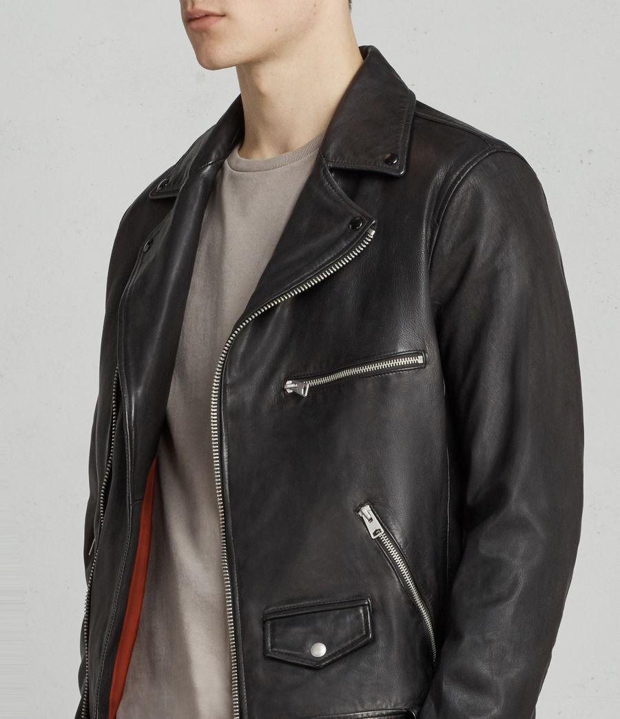 Mens Kodey Leather Biker Jacket (black) - Image 2