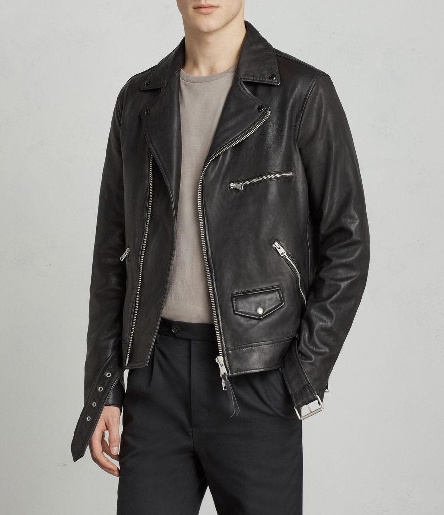 Mens Kodey Leather Biker Jacket (black) - Image 3