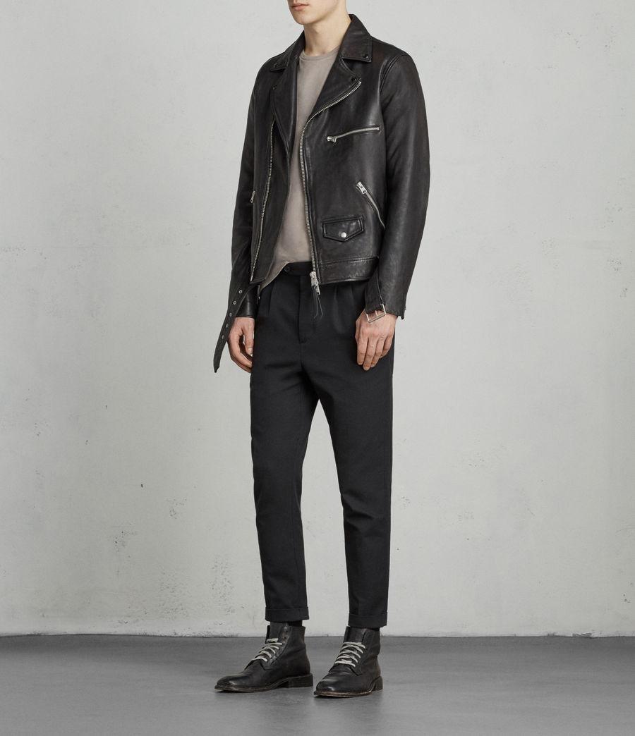 Mens Kodey Leather Biker Jacket (black) - Image 4