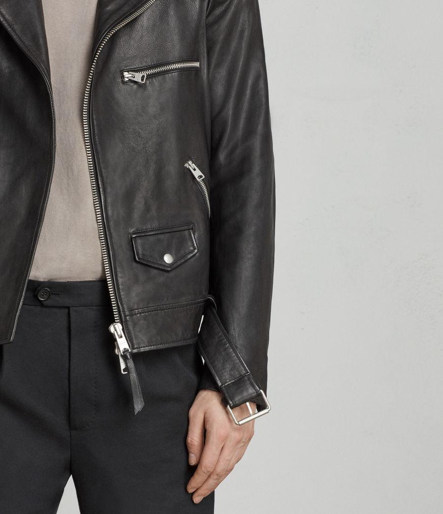 Mens Kodey Leather Biker Jacket (black) - Image 5