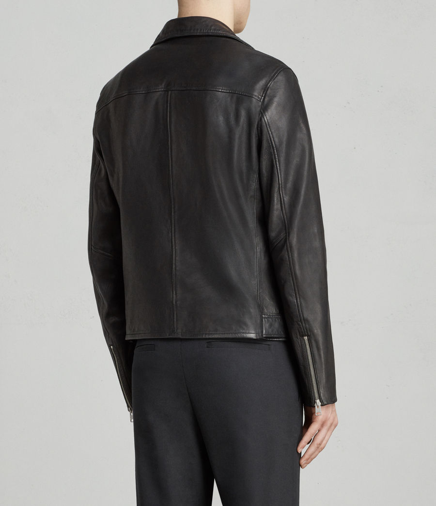 Mens Kodey Leather Biker Jacket (black) - Image 6