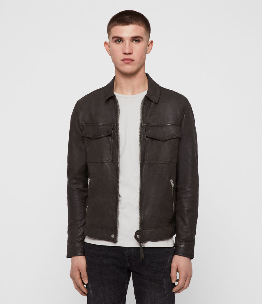Men's Garter Leather Jacket (charcoal_grey) - Image 1