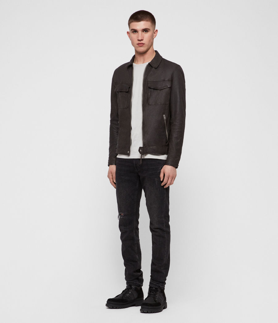 Herren Garter Leather Jacket (charcoal_grey) - Image 3