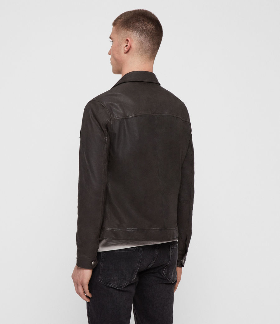Men's Garter Leather Jacket (charcoal_grey) - Image 4