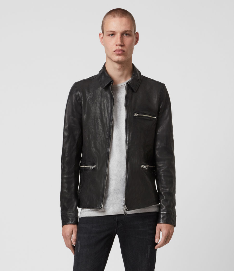 Mens Calix Leather Jacket (black) - Image 1