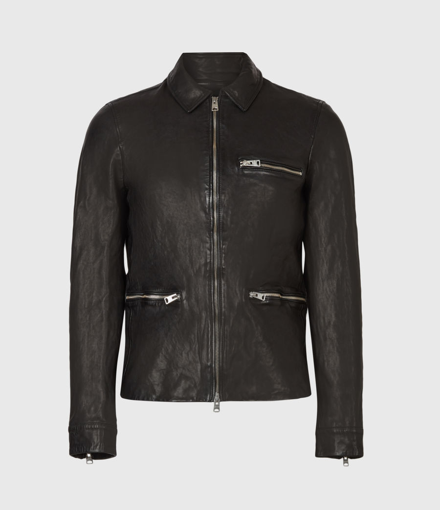 Mens Calix Leather Jacket (black) - Image 2
