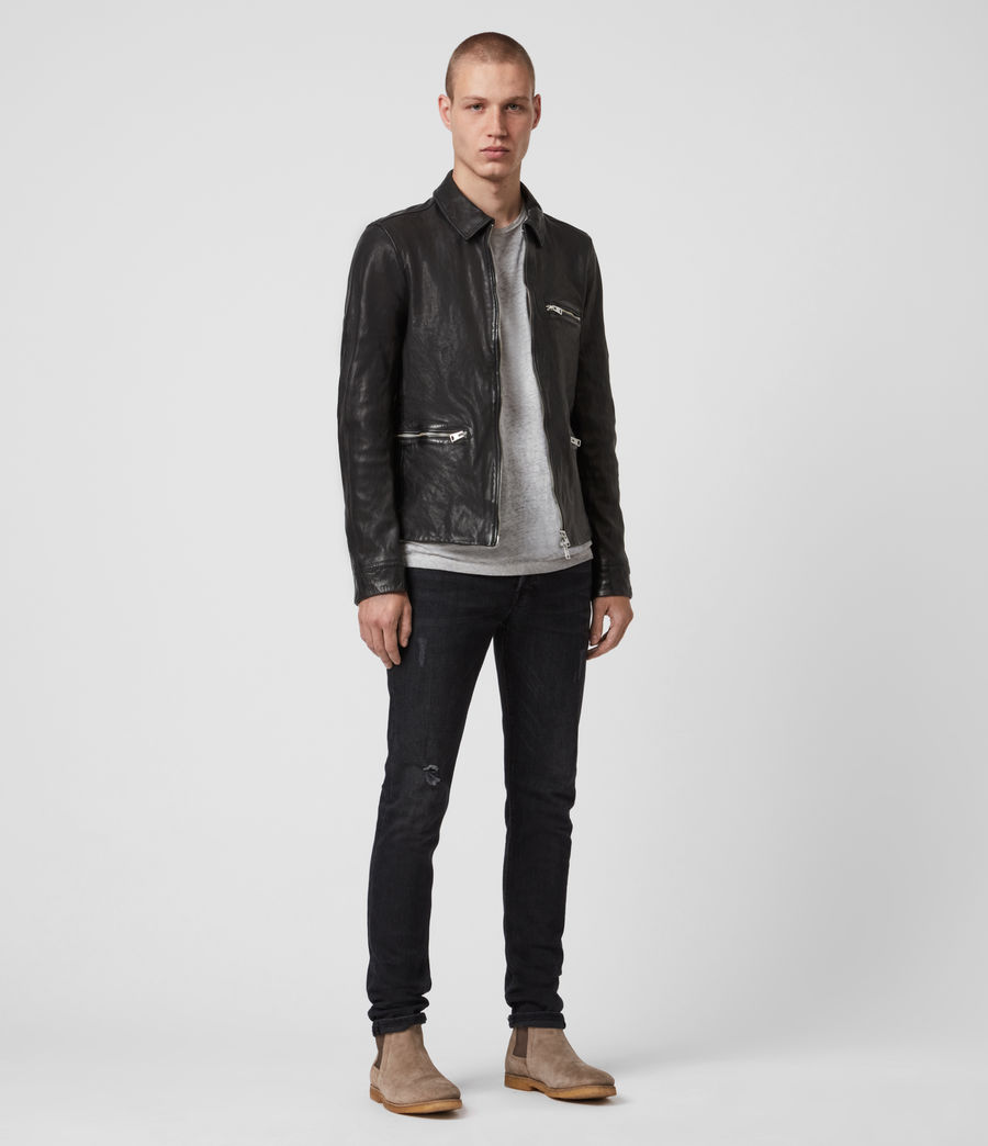 Mens Calix Leather Jacket (black) - Image 4