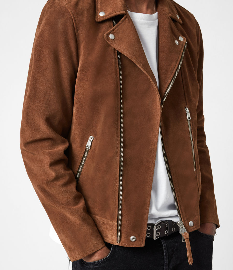 Mens Neko Suede Biker Jacket (tan_brown) - Image 4