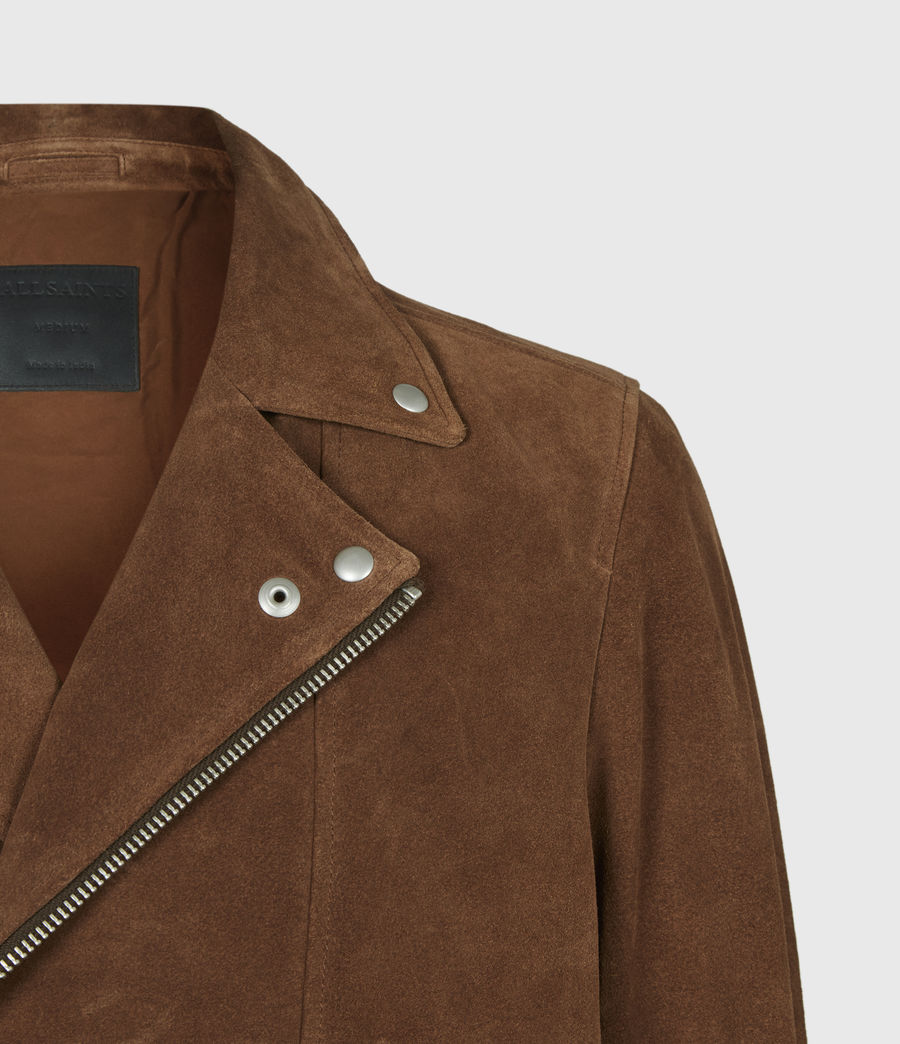 Mens Neko Suede Biker Jacket (tan_brown) - Image 5