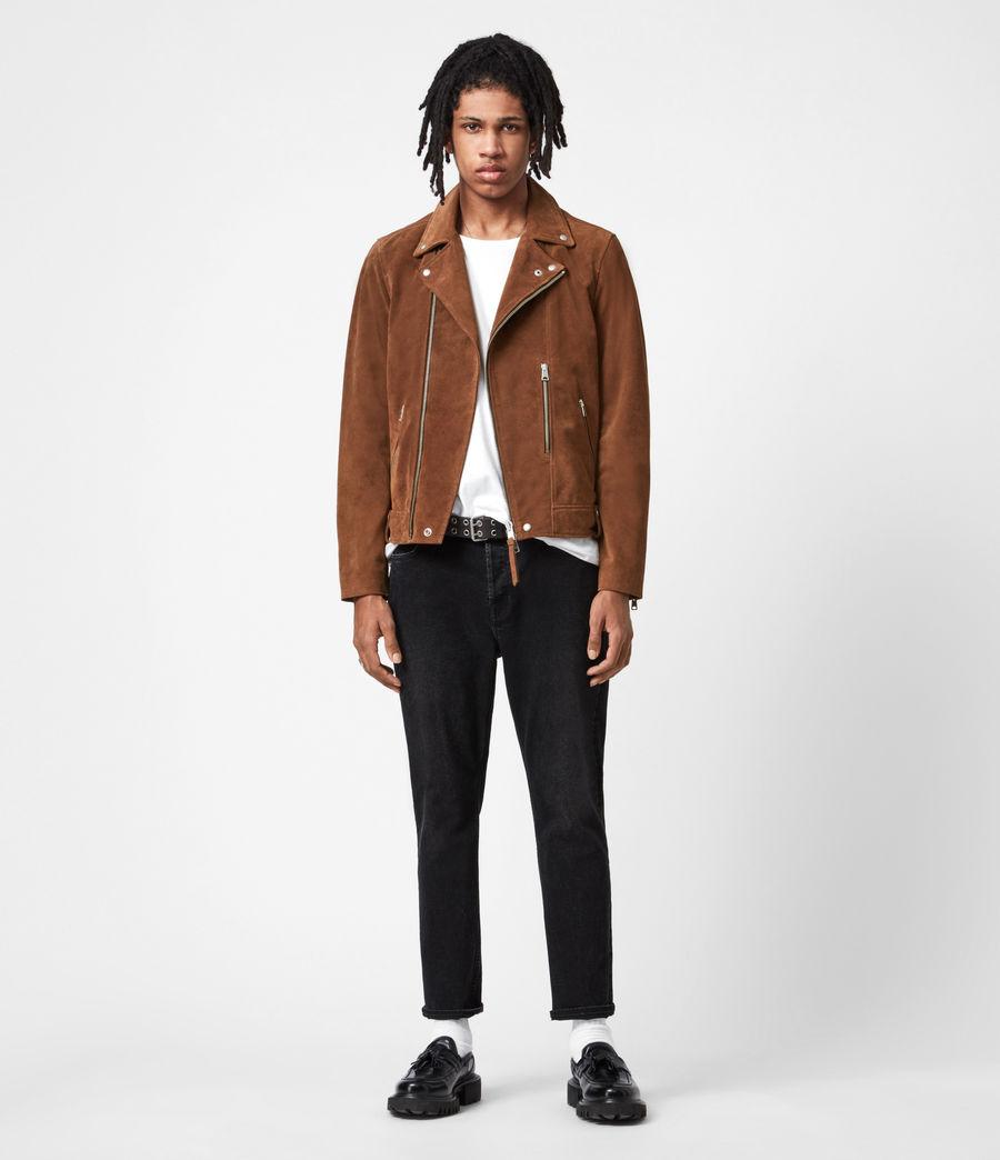 Mens Neko Suede Biker Jacket (tan_brown) - Image 7