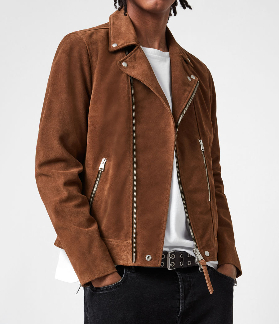 Mens Neko Suede Biker Jacket (tan_brown) - Image 8