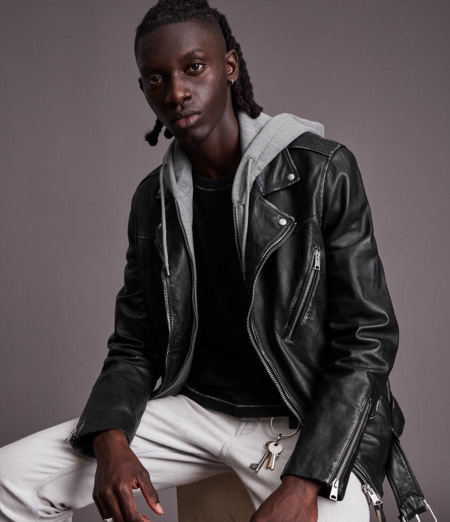 Men's Charter Leather Biker Jacket (black) - Image 1