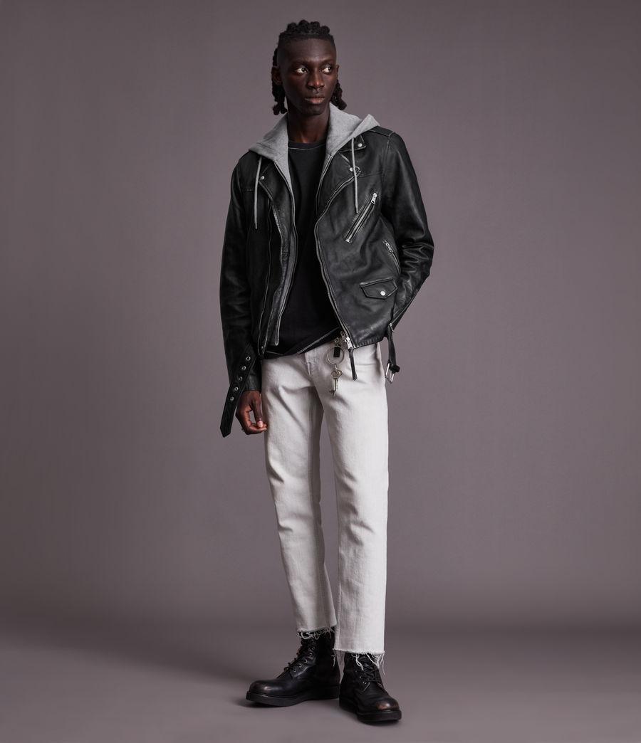 Men's Charter Leather Biker Jacket (black) - Image 2