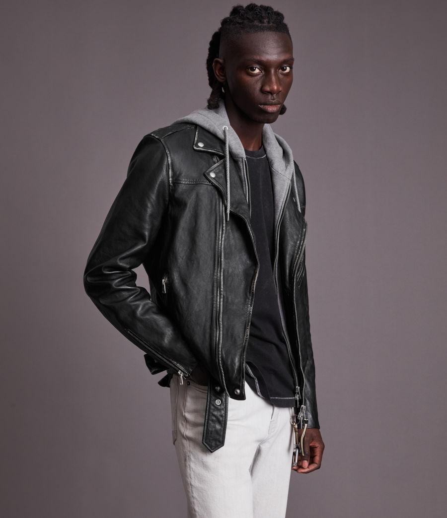 Men's Charter Leather Biker Jacket (black) - Image 3