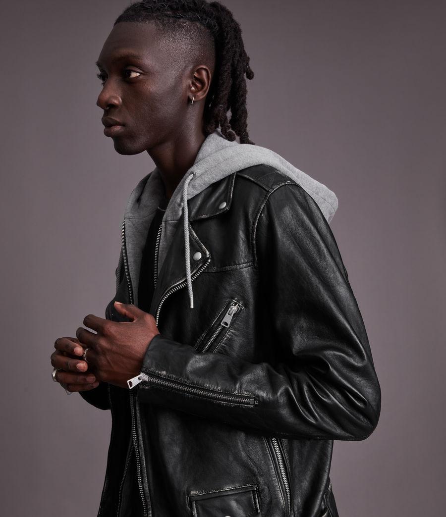 Men's Charter Leather Biker Jacket (black) - Image 4