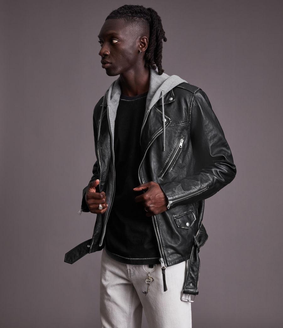Men's Charter Leather Biker Jacket (black) - Image 5
