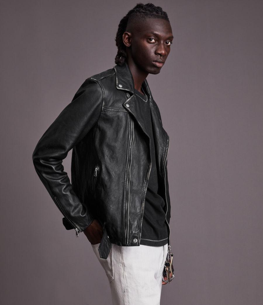 Men's Charter Leather Biker Jacket (black) - Image 6
