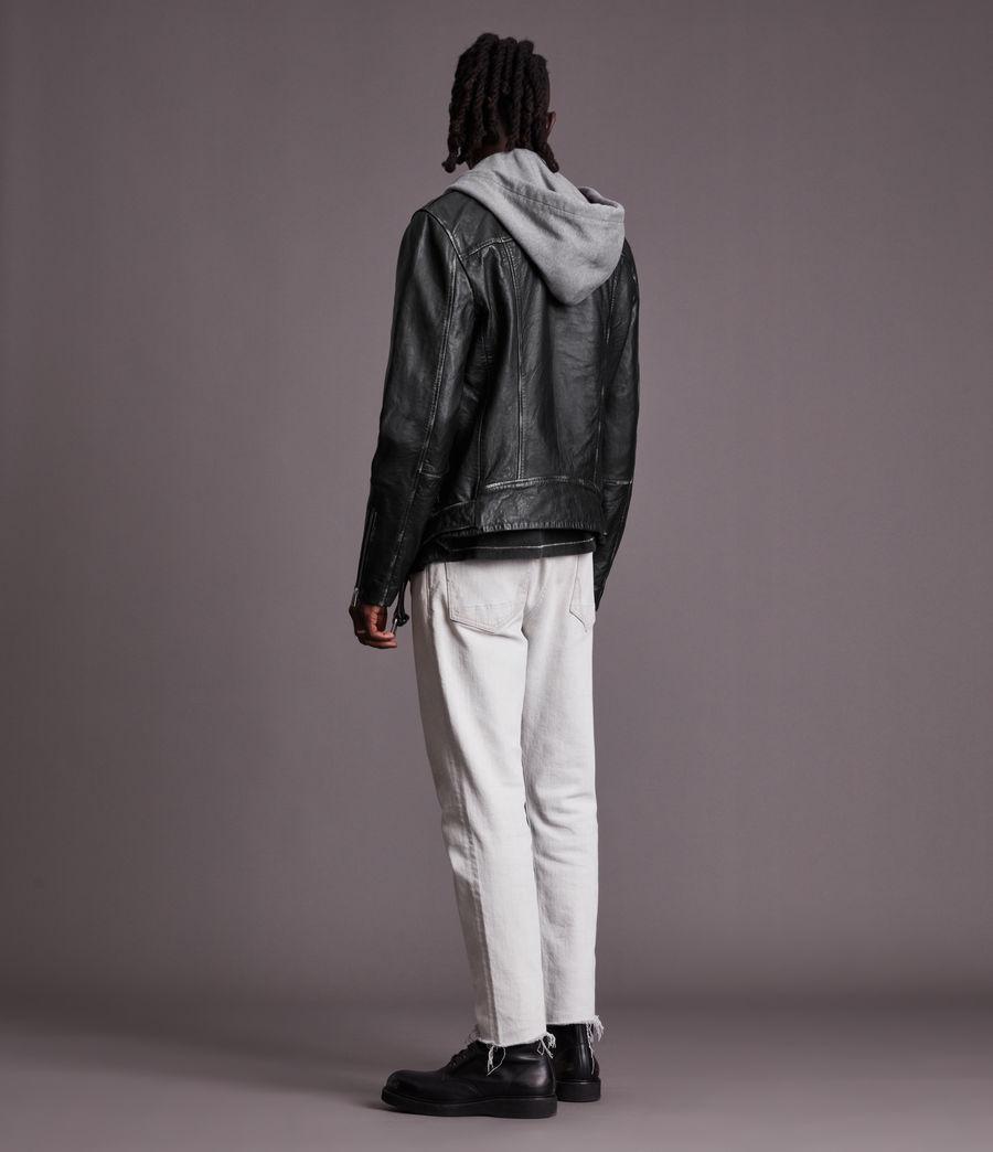 Men's Charter Leather Biker Jacket (black) - Image 7