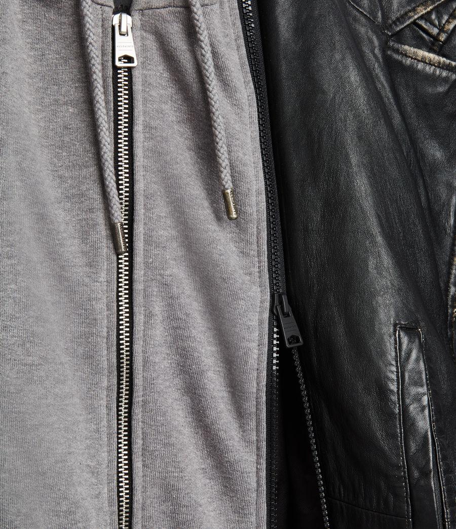 Men's Charter Leather Biker Jacket (black) - Image 8