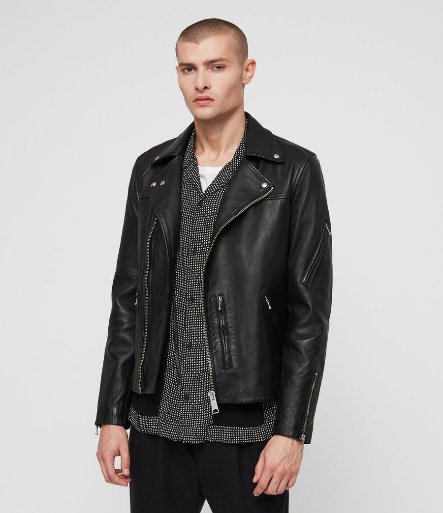 Men's Uni Leather Biker Jacket (black) - Image 1
