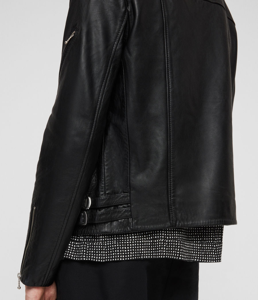 Men's Uni Leather Biker Jacket (black) - Image 2