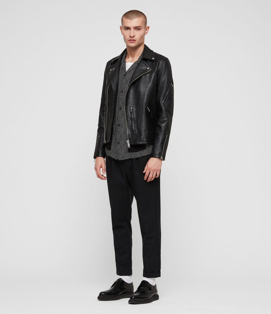 Men's Uni Leather Biker Jacket (black) - Image 3