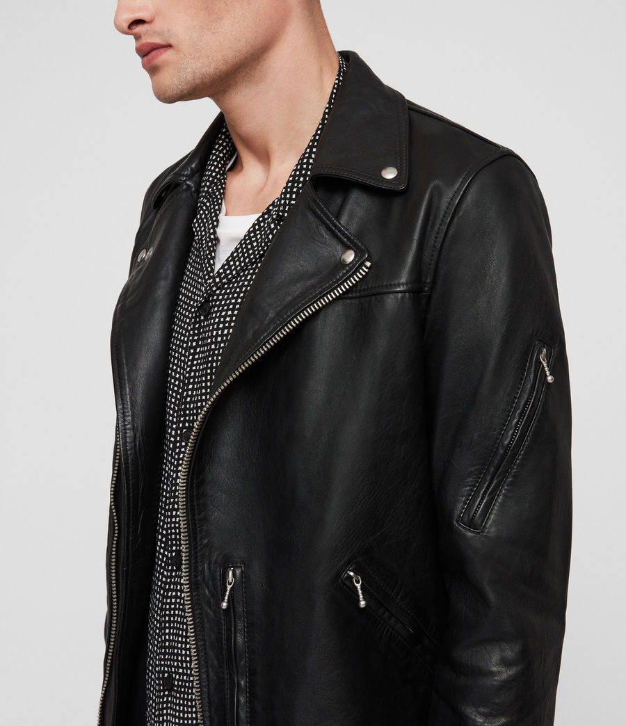 Men's Uni Leather Biker Jacket (black) - Image 4