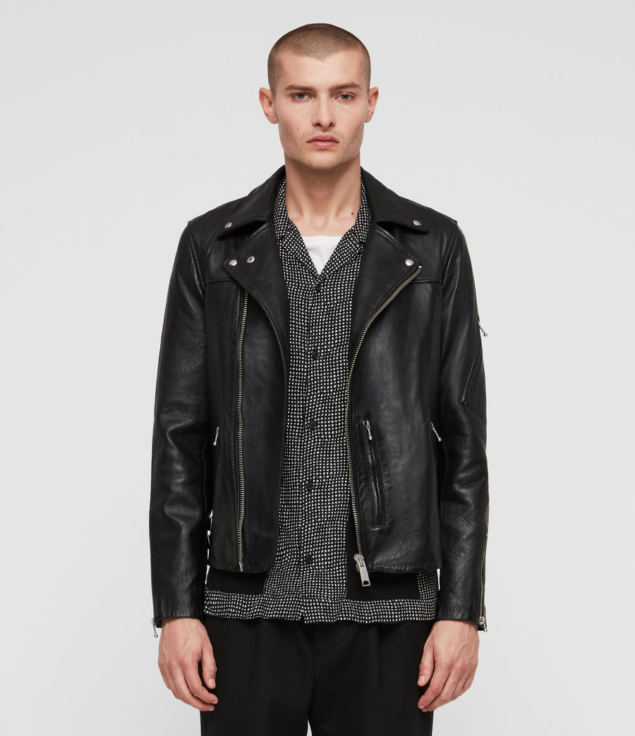 Men's Uni Leather Biker Jacket (black) - Image 5