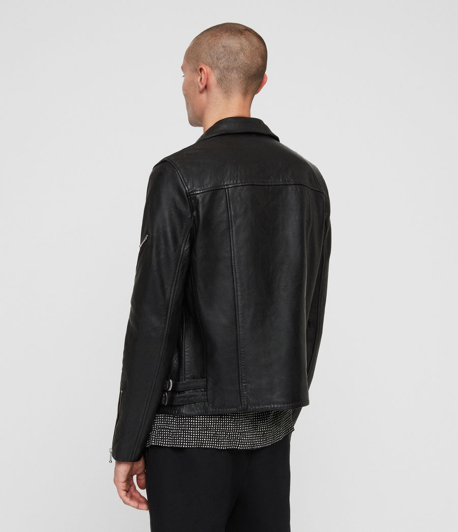 Men's Uni Leather Biker Jacket (black) - Image 6