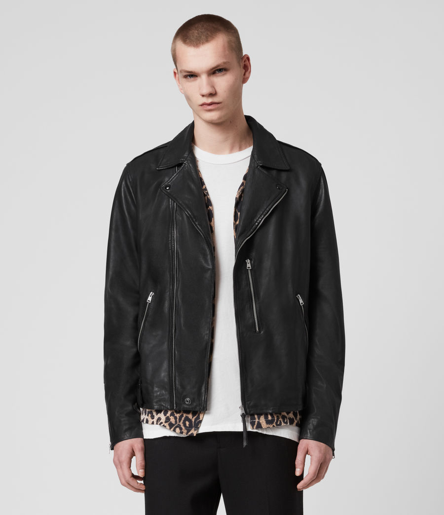 Mens Bondi Leather Biker Jacket (black) - Image 1