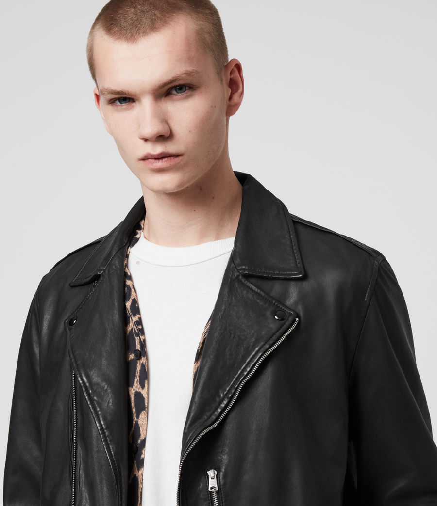 Mens Bondi Leather Biker Jacket (black) - Image 2