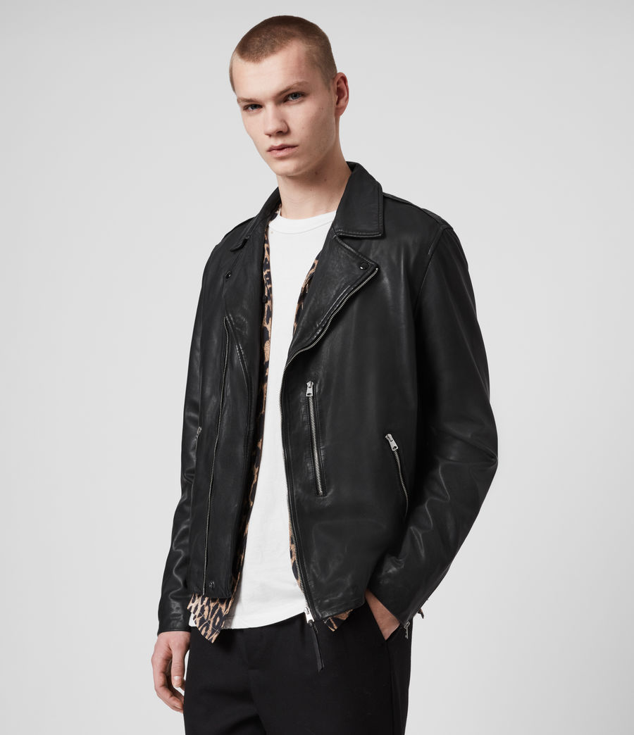 Men's Bondi Leather Biker Jacket (black) - Image 4