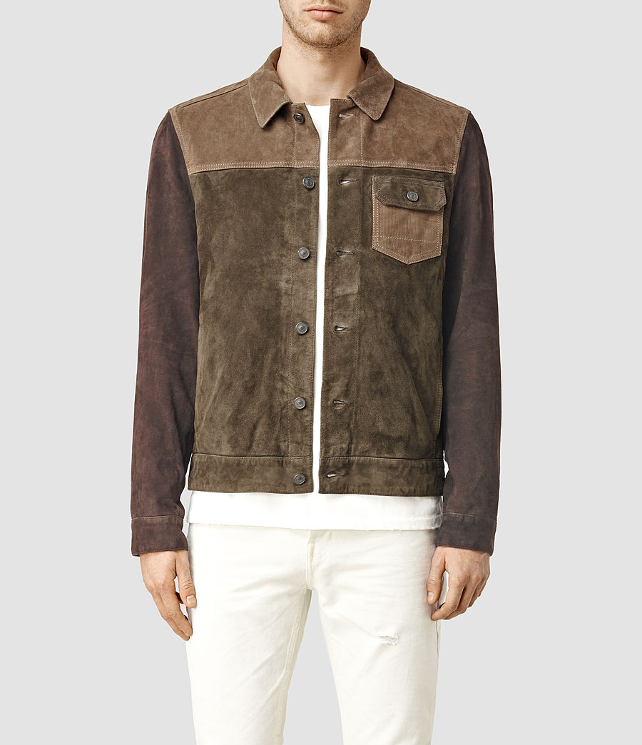 Men's Dakota Suede Jacket (khaki_green) - Image 1