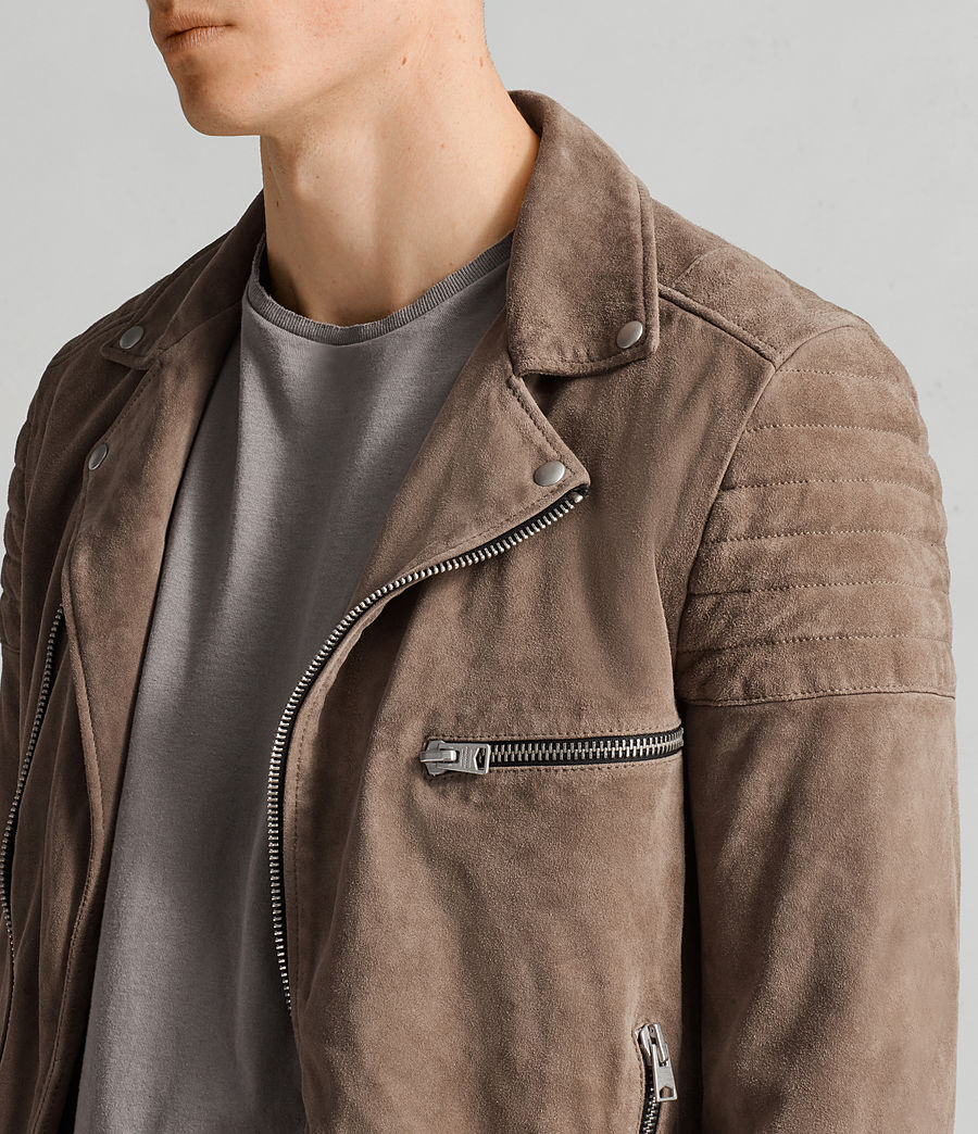 Mens Theo Suede Biker Jacket (light_khaki_green) - Image 2