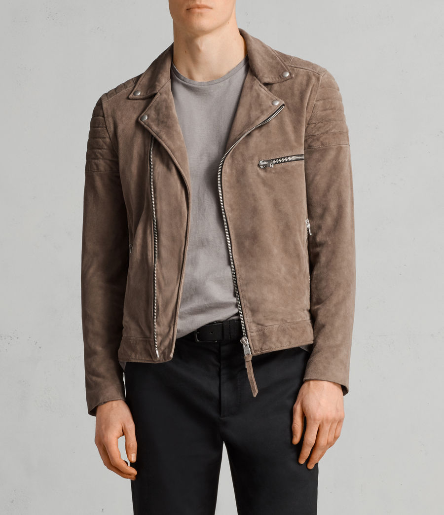 Mens Theo Suede Biker Jacket (light_khaki_green) - Image 4