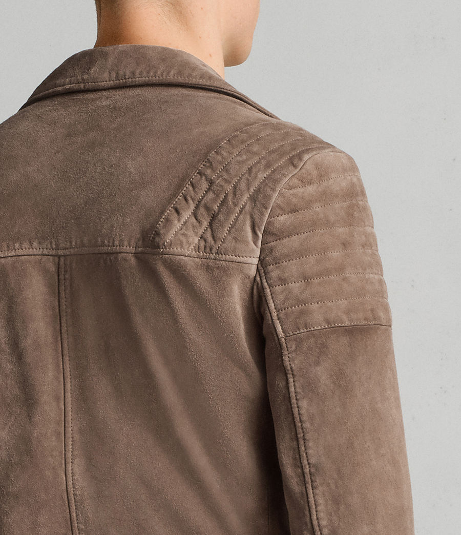 Mens Theo Suede Biker Jacket (light_khaki_green) - Image 5