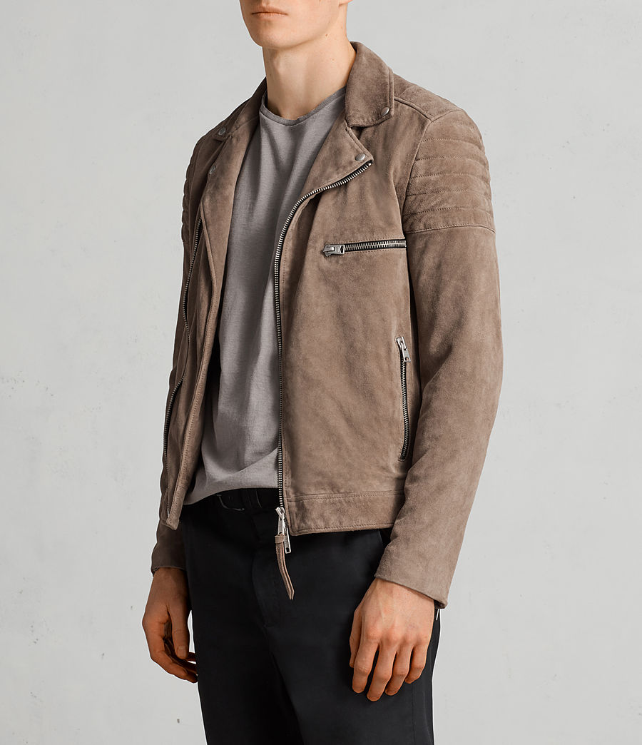 Mens Theo Suede Biker Jacket (light_khaki_green) - Image 6