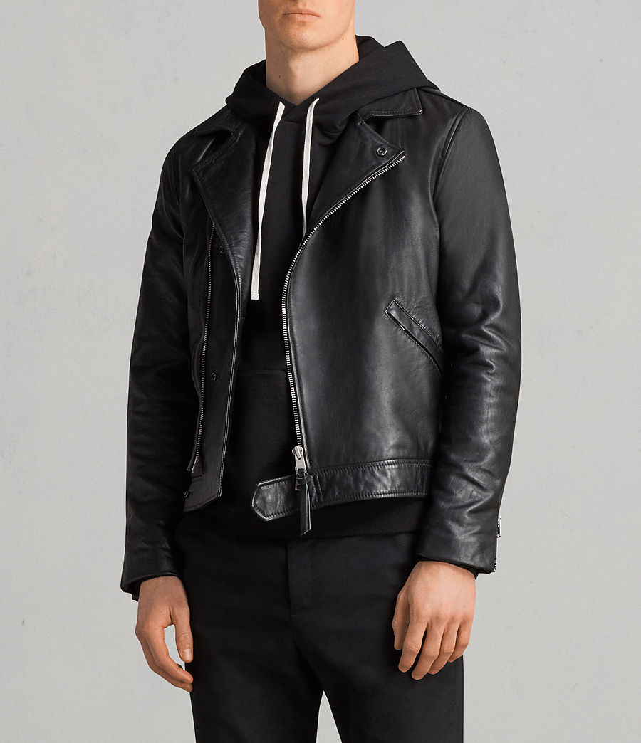 Men's Alderson Leather Biker Jacket (black) - Image 1