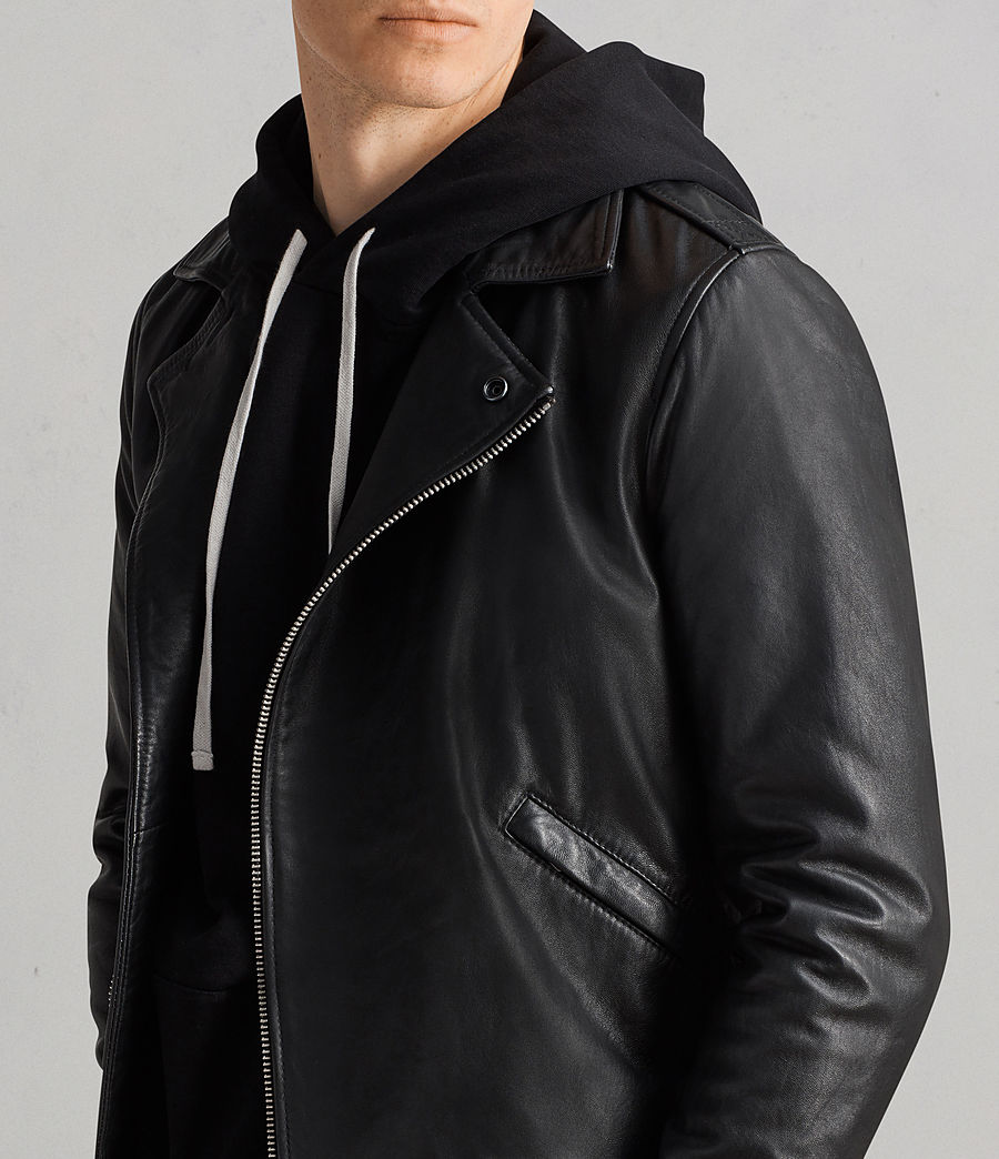 Men's Alderson Leather Biker Jacket (black) - Image 2
