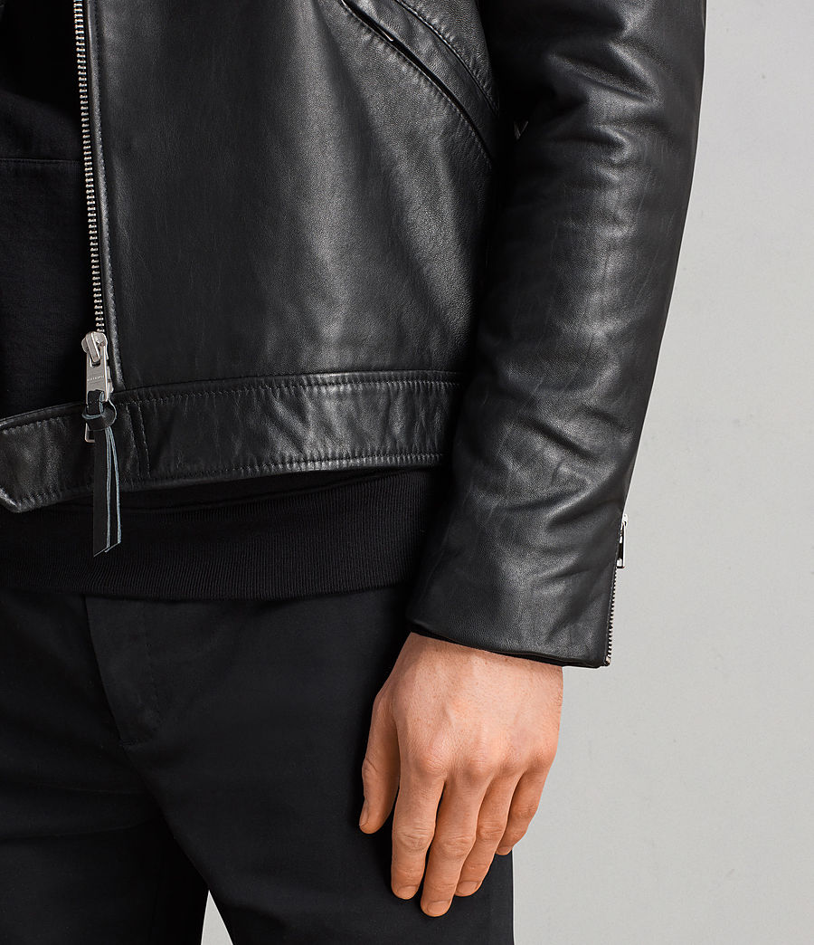 Men's Alderson Leather Biker Jacket (black) - Image 3