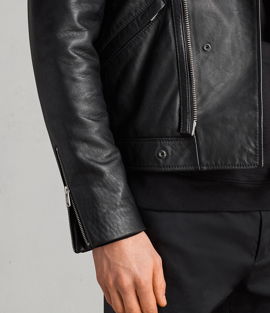 Men's Alderson Leather Biker Jacket (black) - Image 6