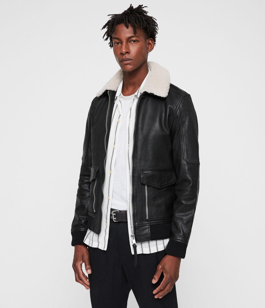Men's Bardell Leather Aviator Jacket (black) - Image 1