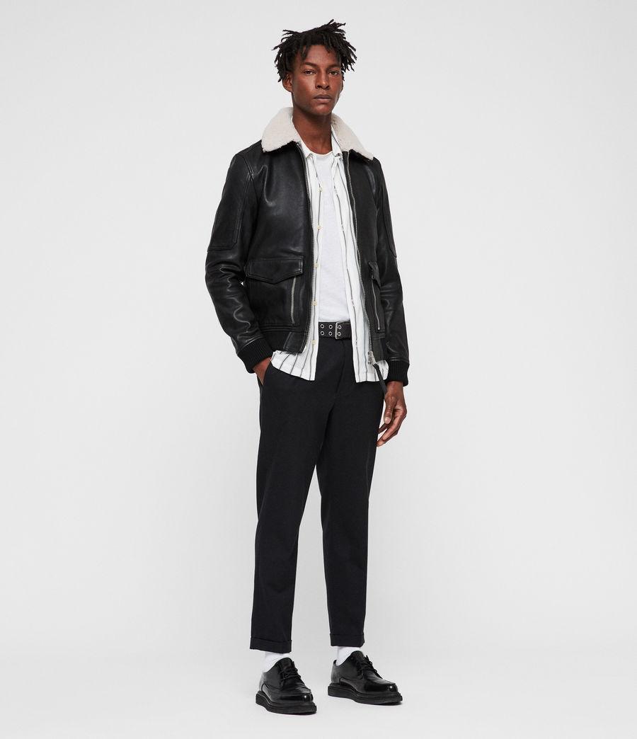 Men's Bardell Leather Aviator Jacket (black) - Image 3