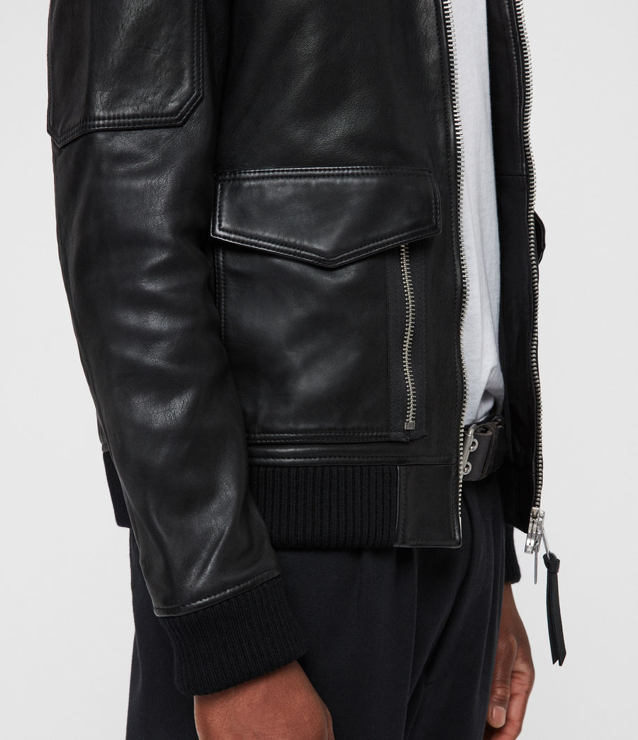Men's Bardell Leather Aviator Jacket (black) - Image 4