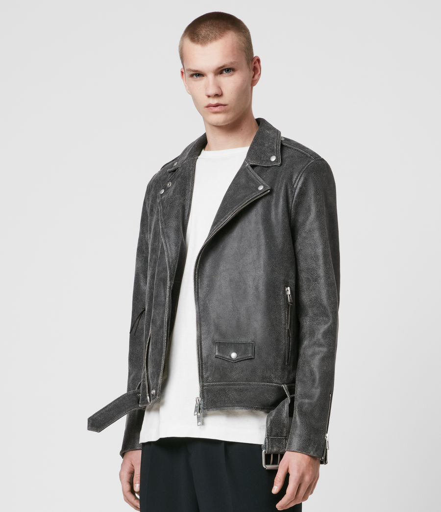 Mens Arashi Leather Biker Jacket (black) - Image 4