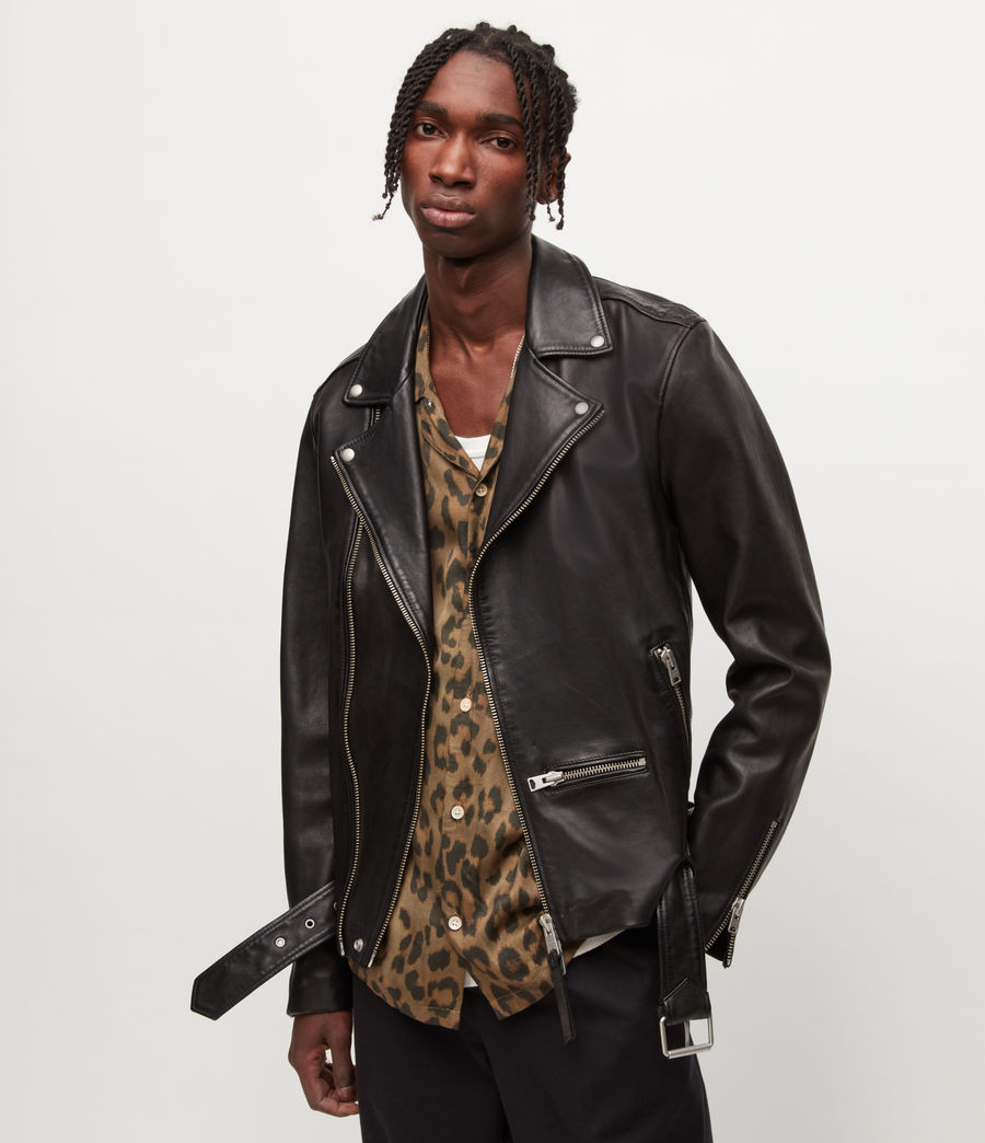 Hombres Wick Leather Biker Jacket (black) - Image 1
