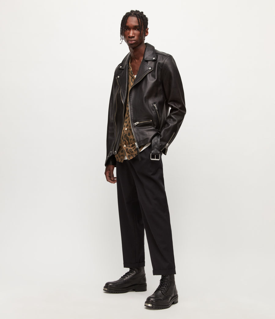 Men's Wick Leather Biker Jacket (black) - Image 3